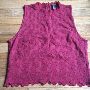 Beautiful Maroon Shear Crop Blouse Forever 21 M